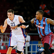 Anadolu Efes's Matthew Janning (L) and Trabzonspor's Dwight Hardy (R) during their Turkish Basketball League Play Off Semi Final round 2 match Anadolu Efes between Trabzonspor at Abdi Ipekci Arena in Istanbul Turkey on Friday 31 May 2015. Photo by Aykut AKICI/TURKPIX