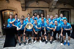 Players of Slovenia during reception of Slovenian U20 handball players after winning gold at 2018 EHF U20 Men's European Championship, on July 30, 2018 in Ljubljana, Slovenia. Photo by Urban Urbanc / Sportida