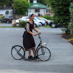 An Amish woman uses a low-step bike fr transportation in Lancaster County, PA.