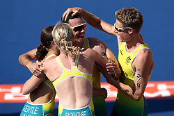 Australia's (from left to right) Ashleigh Gentle, Gillian Backhouse, Jacob Birtwhistle and Matthew Hauser celebrate winning gold during the Mixed Team Relay Triathlon final at the Southport Broadwater Parklands during day three of the 2018 Commonwealth Games in the Gold Coast, Australia.