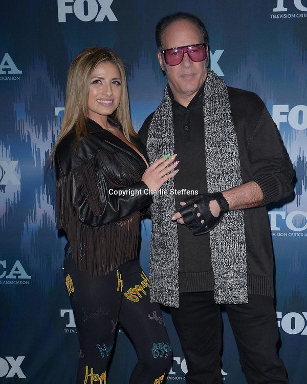 VANESSA VASQUEZ (L) and ANDREW DICE CLAY at the Fox Winter TCA 2017 All-Star Party at the Langham Hotel in Pasadena, California