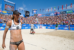 Barbara Hansel of Austria at A1 Beach Volleyball Grand Slam tournament of Swatch FIVB World Tour 2010, for bronze medal, on July 31, 2010 in Klagenfurt, Austria. (Photo by Matic Klansek Velej / Sportida)