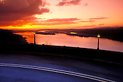 Sunset over the Columbia River and historic highway from Crown Point, Columbia River Gorge, Oregon