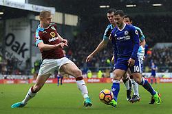 12th February 2017 - Premier League - Burnley v Chelsea - Eden Hazard of Chelsea battles with Ben Mee of Burnley - Photo: Simon Stacpoole / Offside.