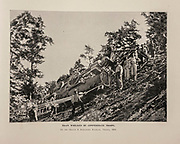 """TRAIN WRECKED BY CONFEDERATE TROOPS On the Orange & Alexandria Railroad, Virginia, 1S64. from The American Civil War book and Grant album : """"art immortelles"""" : a portfolio of half-tone reproductions from rare and costly photographs designed to perpetuate the memory of General Ulysses S. Grant, depicting scenes and incidents in connection with the Civil War Published  in Boston and New York by W. H. Allen in 1894"""