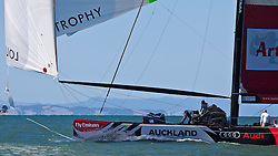 Second day of the elimination round. Artemis (SWE) beats Team Origin (GBR) after Team Origin (GBR) lead till halfway up the second beat. Then they left Artemis (SWE) pass to the right and Artemis (SWE) was ahead at the next cross. Artemis ripped the foot of their gennaker at the last top mark rounding  hoist, but the sail didn't rip any further. Auckland, New Zealand, March 18th 2010. Louis Vuitton Trophy  Auckland (8-21 March 2010) © Sander van der Borch / Artemis