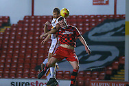 Bradford City forward James Hanson (9) wins the header  during the EFL Sky Bet League 1 match between Walsall and Bradford City at the Banks's Stadium, Walsall, England on 17 December 2016. Photo by Simon Davies.