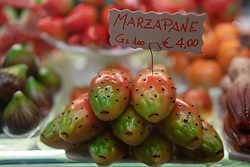Traditional decorative marzipan on sale in a shop in Venice. From a series of travel photos in Italy. Photo date: Sunday, February 10, 2019. Photo credit should read: Richard Gray/EMPICS