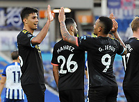 Football - 2019 / 2020 Premier League - Brighton & Hove Albion vs Manchester City<br /> <br /> <br /> Rodrigo , who set up the header for Jesus to score goal no.2 celebrate together , at the Amex Stadium<br /> <br /> COLORSPORT/ANDREW COWIE