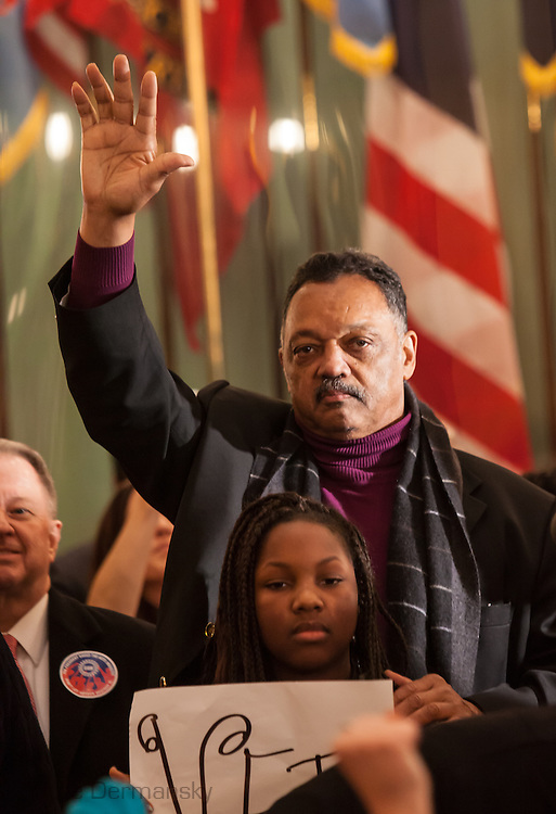 Jesse Jackson in the MI State Capitol joining union members protesting against the Right to Work Law