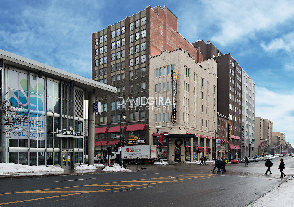 Archambault Store at the corner of Berri Street and Sainte Catherine street and Metro Berri-UQAM, Ville Marie District, Montreal, Quebec, Canada