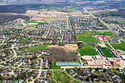 Aerial photograph of Verona, Wisconsin, USA on a nice spring day.