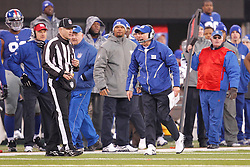 New York Giants head coach Tom Coughlin in the bench area during the NFL Game between the Philadelphia Eagles and the New York Giants.  The Eagles won 38-31 at The New Meadowlands Stadium in East Rutherford, New Jersey on Sunday December 19th 2010. (Photo By Brian Garfinkel)