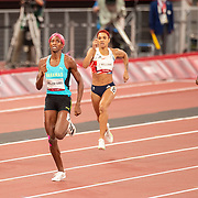 TOKYO, JAPAN August 6:   Gold medal winner Shaunae Miller-Uibo of the Bahamas heads towards the finish line in the 400m for women with Allyson Felix of the United States finishing in the bronze medal position during the Track and Field competition at the Olympic Stadium  at the Tokyo 2020 Summer Olympic Games on August 6th, 2021 in Tokyo, Japan. (Photo by Tim Clayton/Corbis via Getty Images)