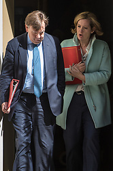 Downing Street, London, May 3rd 2016. Culture, Media and Sport Secretary John Whittingdale and Energy Secretary Amber Rudd leave 10 Downing Street following the weekly cabinet meeting. ©Paul Davey<br /> FOR LICENCING CONTACT: Paul Davey +44 (0) 7966 016 296 paul@pauldaveycreative.co.uk