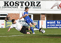 Photo: Steve Bond/Richard Lane Photography. Hereford United v Leicester City. Coca Cola League One. 11/04/2009. Matty Fryatt (R) gets a shot in as Karl Broadhurst (L) tackles back