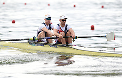 Great Britain's Oliver Cook (front) and Matthew Rossiter compete in the Men's Pair Semifinal A/B 1 during day two of the 2018 European Championships at the Strathclyde Country Park, North Lanarkshire. PRESS ASSOCIATION Photo. Picture date: Friday August 3, 2018. See PA story ROWING European. Photo credit should read: Ian Rutherford/PA Wire. RESTRICTIONS: Editorial use only, no commercial use without prior permission