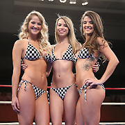 "Ring girls are seen during the ""Boxeo Telemundo"" boxing match at the Kissimmee Civic Center on Friday, March 14, 2014 in Kissimmme, Florida. (Photo/Alex Menendez)"