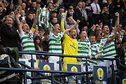 Celtic have achieved the Treble Treble and Captain Scott Brown lifts the Scottish Cup during the William Hill Scottish Cup Final match between Heart of Midlothian and Celtic at Hampden Park, Glasgow, United Kingdom on 25 May 2019.