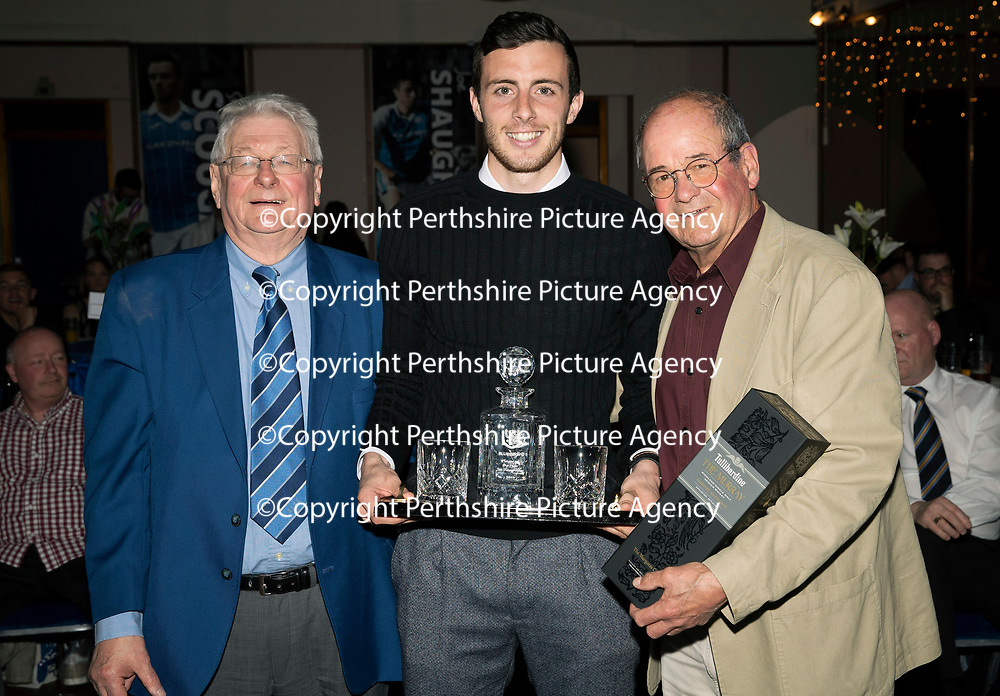 St Johnstone FC Player of the Year Awards 2017-18<br />Blues Boys Player of the Year is Joe Shaughnessy presented by Jimmy Robertson (left) and Jimmy Smith<br />Picture by Graeme Hart.<br />Copyright Perthshire Picture Agency<br />Tel: 01738 623350  Mobile: 07990 594431