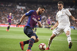 March 2, 2019 - Madrid, Madrid, Spain - Luis Suarez (forward; Barcelona), Sergio Reguilon (defender; Real Madrid) in action during La Liga match between Real Madrid and FC Barcelona at Santiago Bernabeu Stadium on March 3, 2019 in Madrid, Spain (Credit Image: © Jack Abuin/ZUMA Wire)