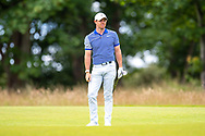 Rory McIlroy (NIR) watches his second shot on the 1st hole during the final round of the Aberdeen Standard Investments Scottish Open at The Renaissance Club, North Berwick, Scotland on 14 July 2019.