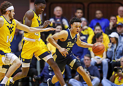 Dec 8, 2018; Morgantown, WV, USA; Pittsburgh Panthers guard Trey McGowens (2) dribbles up the floor during the first half against the West Virginia Mountaineers at WVU Coliseum. Mandatory Credit: Ben Queen-USA TODAY Sports