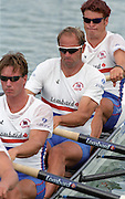 St Catharines, Ontario, CANADA 1999 World Rowing Championships. GBR M4- [bottom] No. 3, Ed Coode, No. 2, Steve Redgrave and bow James Cracknell,[Mandatory Credit Peter Spurrier Intersport Images] 1999 FISA. World Rowing Championships, St Catherines, CANADA