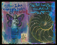 Visual Journal with art and writings. Art Journal by Elena Ray. Handmade artist's journals filled with collage and crazy wisdom.
