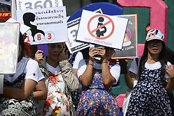 May 1, 2017 - Bangkok, Bangkok, Thailand - Thai women worker hold demonstrate banners during parade to celebrate for Labour Day in on 1st May 2017 in Bangkok, Thailand. (Credit Image: © Anusak Laowilas/NurPhoto via ZUMA Press)