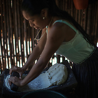 Matilde, a young Q'eqchi woman making tortillas. This is a routine at least once a day for every household. young woman hand-grinding her cooked corn into a dough for making tortillas. This is a routine at least once a day for every household.