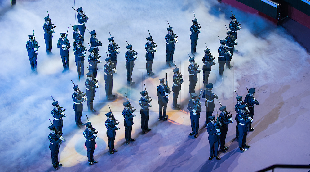 © London News Pictures. Pictured:The Royal Air Force Queens Colour Squadron perform within The Royal Albert Hall, London during the Festival of Remembrance on Saturday 7th November 2015.. Photo credit: Rupert Frere/LNP