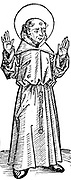 Francis of Assisi (1182-1226) holding up hands to show stigmata. Italian. Founder of the Franciscan order. From Hartmann Schedel 'Liber chronicarum mundi' (Nuremberg Chronicle) Nuremberg 1493. Woodcut.