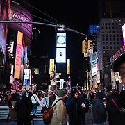 A street scene in Time Square at night, Manhattan, New York, USA. 26th November 2012. Photo Tim Clayton