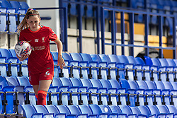 BIRKENHEAD, ENGLAND - Sunday, August 29, 2021: Liverpool's Charlotte Wardlaw retreives the ball from the stands during the FA Women's Championship game between Liverpool FC Women and London City Lionesses FC at Prenton Park. London City won 1-0. (Pic by Paul Currie/Propaganda)
