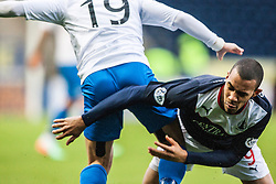 Morton's Barrie McKay and Falkirk's Phil Roberts.<br /> Falkirk 1 v 1 Morton, Scottish Championship game today at The Falkirk Stadium.<br /> © Michael Schofield.