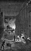 Retort House, Imperial Gasworks, King's Road, London. Wood engraving, 1876