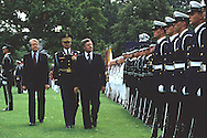 Chancellor Helmut Schmidt and President Jimmy Carter at a state visit arrival cermony on the South Lawn of the White House on July 13, 1977...Photograph by Dennis Brack bb 21