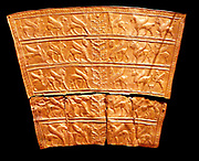 Plaques with winged creatures approaching stylised trees. Made from gold, circa 8th-7th century BC. From north-western Iran, possibly Ziwiye.