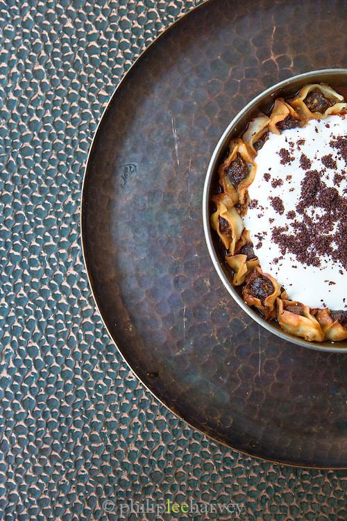 Missov Mante (beef and lamb) dish, Mayrig Restaurant in downtown Dubai, United Arab Emirates