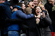 Tottenham fans celebrate their teams win at the final whistle. Premier league match, Tottenham Hotspur v Arsenal at Wembley Stadium in London on Saturday 10th February 2018.<br /> pic by Steffan Bowen, Andrew Orchard sports photography.