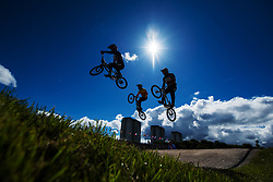 August 10, 2018 - Glasgow, United Kingdom - Kristens Krigers of Latvia, Alejandro Alcojor Ramos of Spain and Paddy Sharrock of Great Britain competes in the qualifications of BMX cycling during the European Championships. (Credit Image: © Joel Marklund/Bildbyran via ZUMA Press)