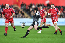 Sam Davies of Ospreys kicks for touch<br /> <br /> Photographer Craig Thomas/Replay Images<br /> <br /> Guinness PRO14 Round 11 - Ospreys v Scarlets - Saturday 22nd December 2018 - Liberty Stadium - Swansea<br /> <br /> World Copyright © Replay Images . All rights reserved. info@replayimages.co.uk - http://replayimages.co.uk