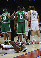 LeBron James lays on the court after being fouled..The Cleveland Cavaliers defeated the Boston Celtics 108-84 in Game 3 of the Eastern Conference Semi-Finals at Quicken Loans Arena in Cleveland.