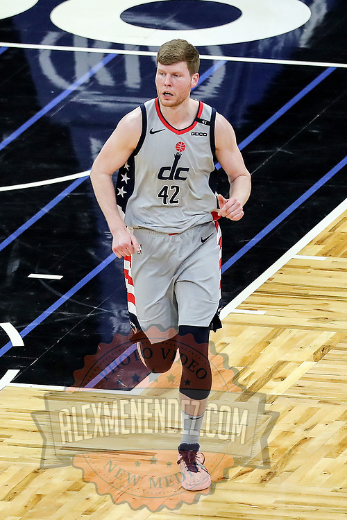 ORLANDO, FL - APRIL 07: Davis Bertans #42 of the Washington Wizards runs up the court against the Orlando Magic at Amway Center on April 7, 2021 in Orlando, Florida. NOTE TO USER: User expressly acknowledges and agrees that, by downloading and or using this photograph, User is consenting to the terms and conditions of the Getty Images License Agreement. (Photo by Alex Menendez/Getty Images)*** Local Caption *** Davis Bertans