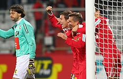22.10.2011, Trenkwalder Arena, Maria Enzersdorf, AUT, 1. FBL, Trenkwalder Admira vs FC Wacker Innsbruck, im Bild Torjubel von Richard Windbichler, (Trenkwalder Admira, #2), Patrik Jezek, (Trenkwalder Admira, #7) und Philipp Hosiner, (Trenkwalder Admira, #16), Szabolcs Safar, (FC Wacker Innsbruck, Keeper, #1) enttaeuscht,  EXPA Pictures © 2011, PhotoCredit: EXPA/ T. Haumer