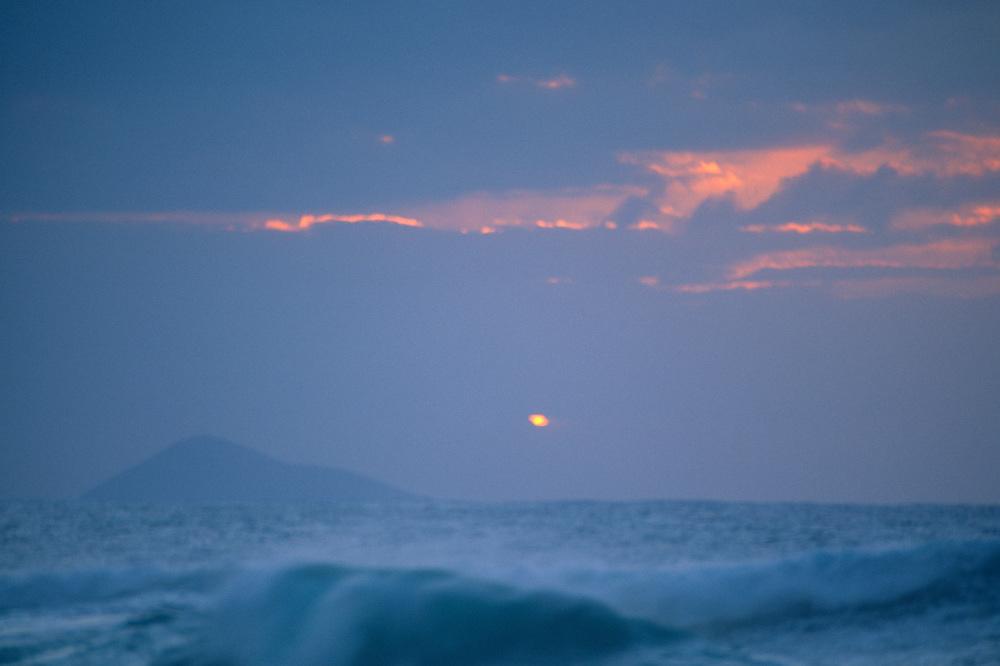 Ni'ihau at Sunset from Polihale Beach, Kauai, Hawaii, US