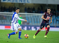 February 28, 2017 - San Sebastian, Spain - Match day of La Liga Santander 2016 - 2017 season between Real Sociedad and S.D Eibar, played Anoeta Stadium on Thuesday, March 28th, 2017. San Sebastian, Spain. 11 Carlos V, 5 Escalante. (Credit Image: © Ion Alcoba/VW Pics via ZUMA Wire/ZUMAPRESS.com)