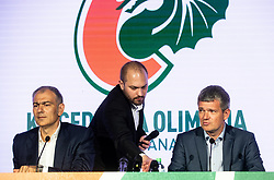 Emil Tedeschi, president of KK Cedevita, Tine Ruzic and Tomaz Berlocnik, president of Petrol Olimpija during press conference of KK Petrol Olimpija (SLO) and KK Cedevita Zagreb (CRO) when announces cooperation or join of both clubs , into KK Cedevita Olimpija Ljubljana, on June 4th, 2019, in Arena Stozice, Ljubljana, Slovenia.Photo by Vid Ponikvar / Sportida