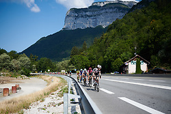 Ruth Winder (USA) leads the bunch at La Course by Le Tour de France 2018, a 112.5 km road race from Annecy to Le Grand Bornand, France on July 17, 2018. Photo by Sean Robinson/velofocus.com